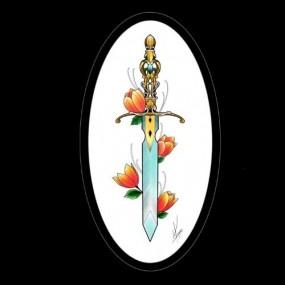 Tattoo Adaga com tulipa
